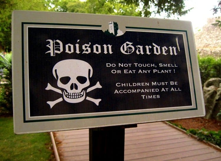 poison garden sign blarney castle