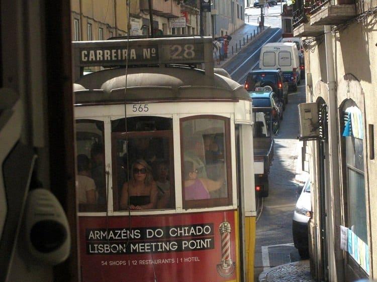 Tram 28 crowded Lisbon