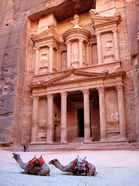 Petra treasury camels