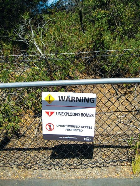 point nepean bomb sign