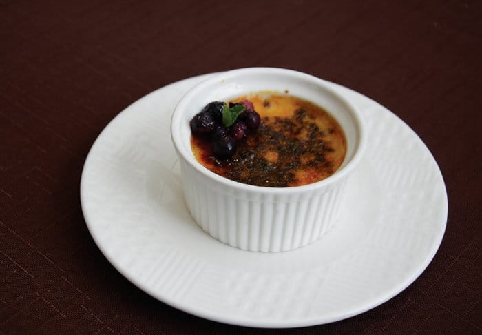 creme brulee with black bread
