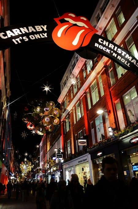 carnaby st christmas rolling stones london
