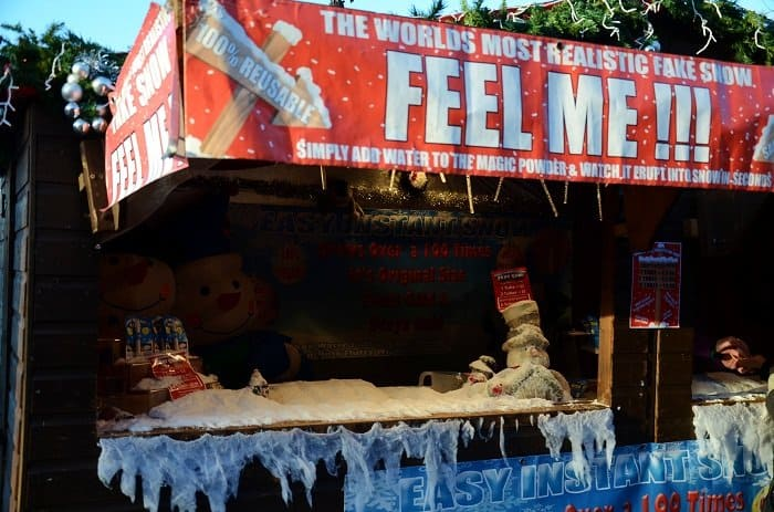 fake snow london market christmas
