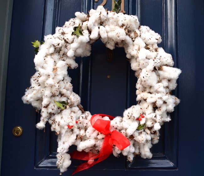 cotton christmas wreath