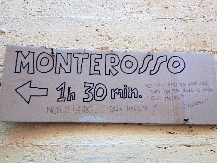 monterosso hiking sign cinque terra