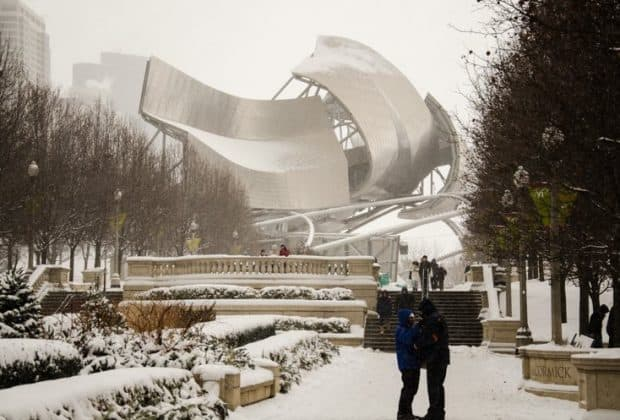 chicago millenium park snow