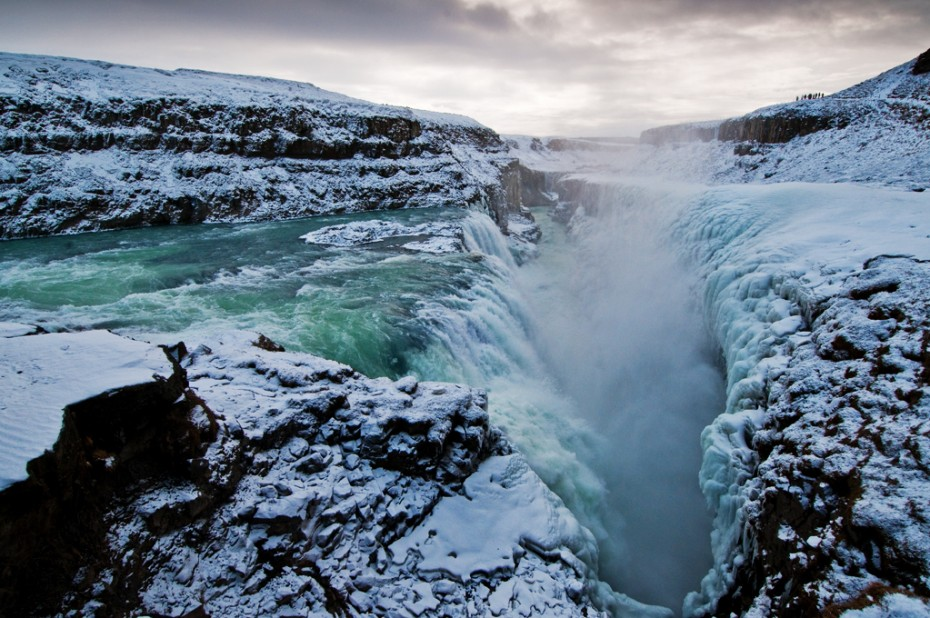 Golden Falls (Gullfoss) and chasm in early March. (Photo credit: Carl Jones )