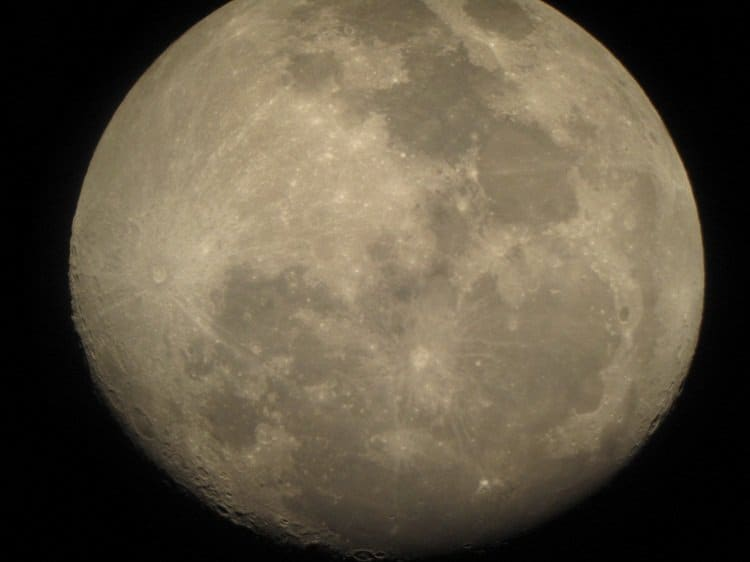 moon through a powerful telescope