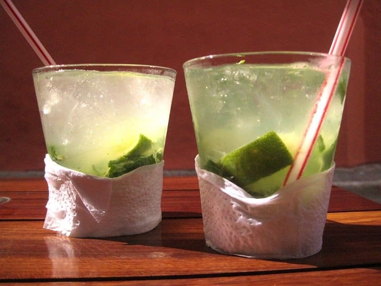 Mint and basil mojitos