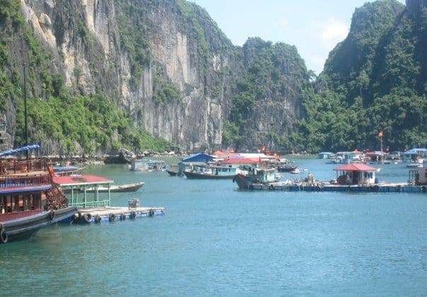 The floating villages of Halong Bay