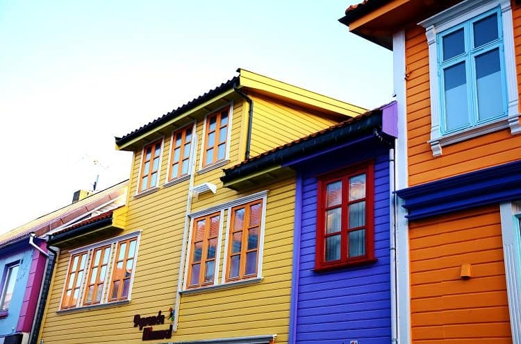 coloured wooden buildings stavanger