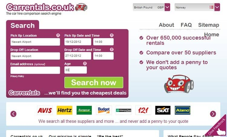 cheapest car hire carrentals.co.uk