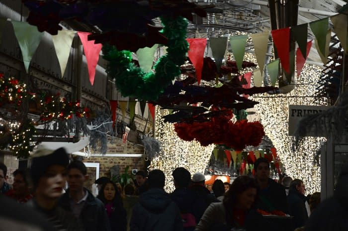 Crowded at Christmas-time: Chelsea Market, NYC