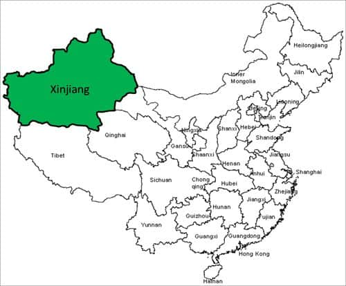 xinjiang china map
