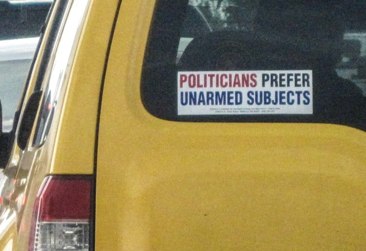 politicians prefer unarmed subjects bumper sticker