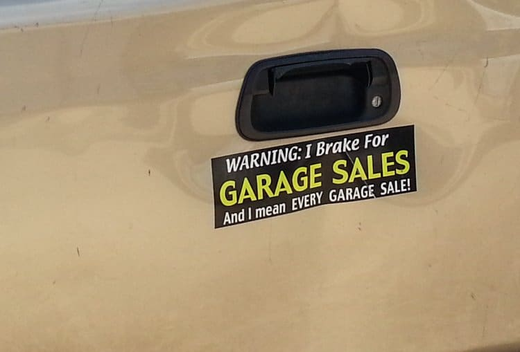 garage sale bumper sticker
