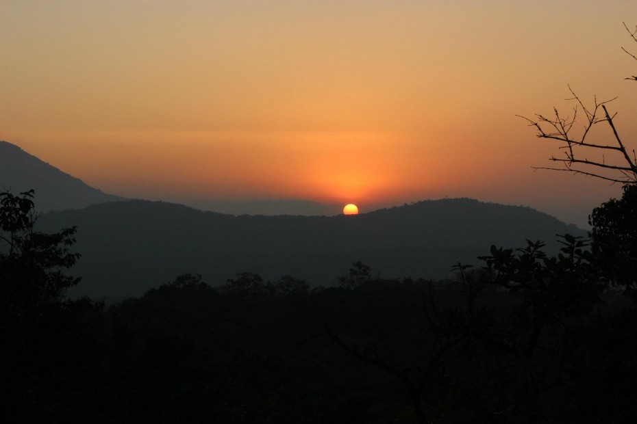 Beautiful view of the sunset from the top of the hill