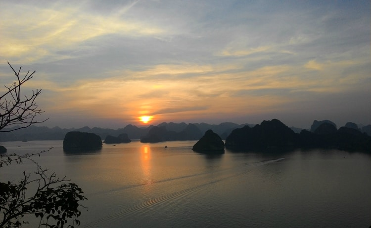 Lovely sunset at Halong Bay in Vietnam