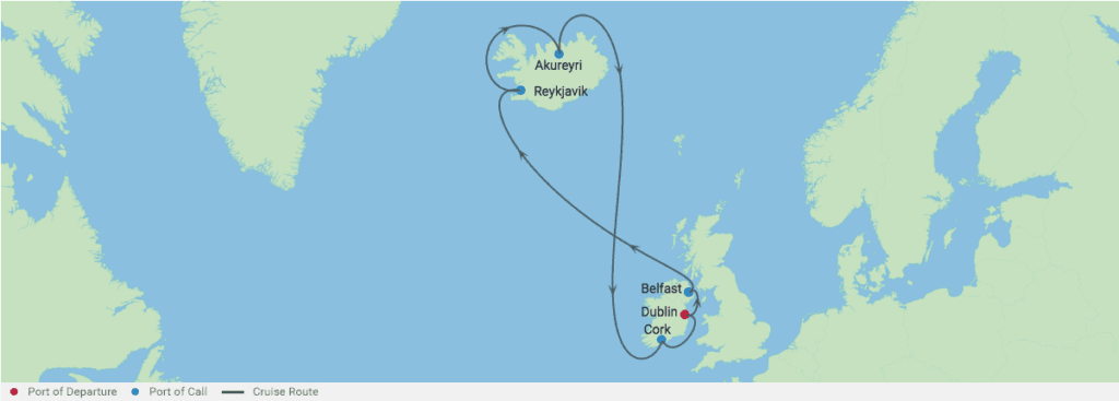 cruise itinerary between Ireland and Iceland